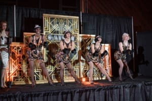 Roaring 20s Themed Holiday Party for Weber Metals Flapper Dancers Staged Performance